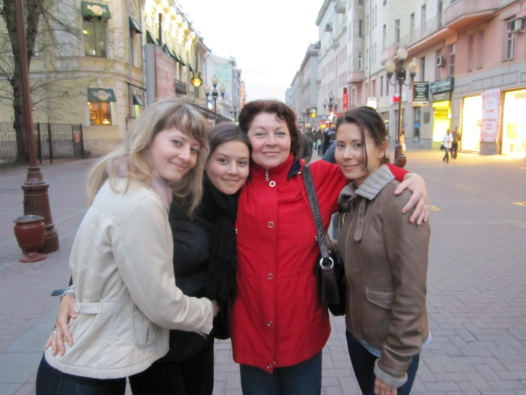 My mom, my sisters, and me in Moscow